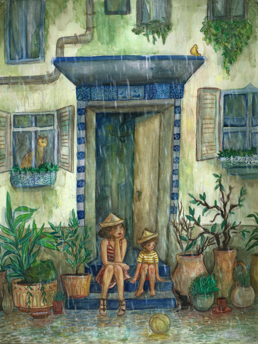 Illustration of a rainy Day outside.