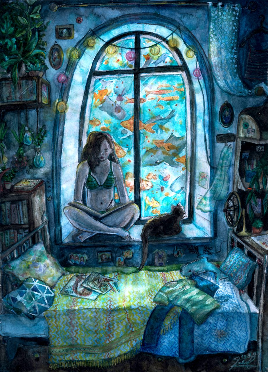 Moodpicture of a girl chills with her cat in an underwater house